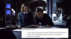 brother/sister-y    Jemma Simmons, Lance Hunter    Text Posts    #fanedit #humor