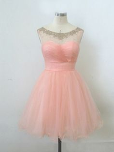 Exquisite Transparent Pearl Pink Ball Gown Round Neckline Mini Homecoming Dress