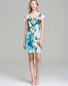 Grayse Short Sleeve Tropical Print Dress   Bloomingdale's