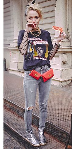 outfits Madonna Style: Shopbop Pays Homage to Desperately Seeking Susan Looks Grunge Fashion, Denim Fashion, Look Fashion, Street Fashion, Fashion Outfits, Fashion Trends, 80s Rock Fashion, 80s Fashion Party, 80s Womens Fashion