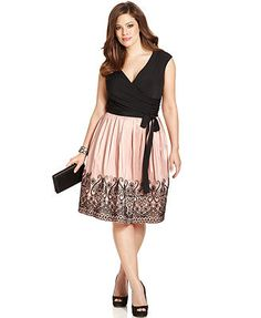 SL Fashions Plus Size Embroidered Pleat Dress