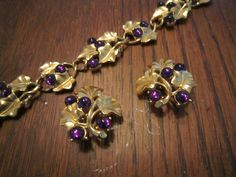 Kunio Matsumoto for Trifari Grape Leaves and Grapes Bracelet and Earrings by HeartoftheSouthwest on Etsy