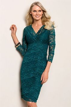 Women's Dresses - Grace Hill 3/4 Lace Layered Dress
