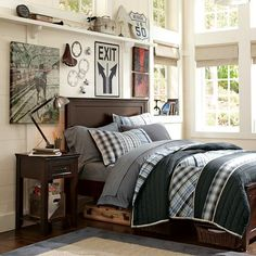 Hampton Classic Bed | PBteen ~Totally gonna' collect bike parts for decoration. Gonna check out yard sales....etc. I think I could grab some cheap canvases and have him help me create some cool art too. ;)