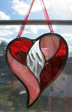 Sparkle Heart Stained Glass Suncatcher by StainedGlassYourWay, $23.00
