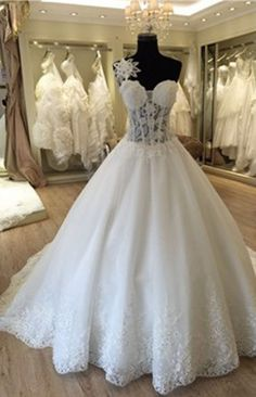 Unique Design One Shoulder See Through A-line Lace Tulle Wedding Dresses,