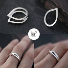 »Silvery Eve droplet ring in solid silver by Minicyn« #jewelry #ring