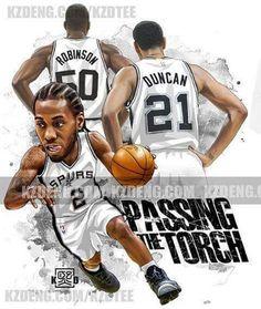 Spurs Kawhi Leonard, Tim Duncan and David Robinson. #GoSpursGo #SpursNation