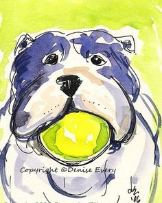 English Bulldog Play Ball Fun Dog Pop Art ACEO ATC by DeniseEvery, $6.99