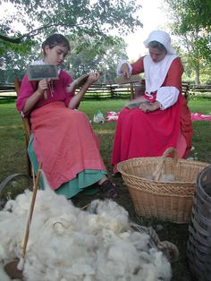 Wool carding at Pennsbury Manor