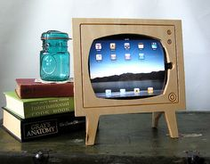 Handmade Natural Wood Retro TV Ipad Dock by miterbox on Etsy, $60.00