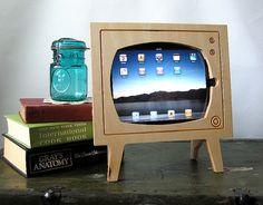 Handmade Natural Wood Retro TV Ipad Dock