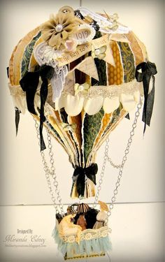 A few of these hanging from the ceiling in the baby room, how cute would that be? Wish I was more creative! Graphic 45 Hot Air Balloon by Miranda Edney Balloon Crafts, 3d Paper Crafts, Scrapbook Paper Crafts, Paper Art, Arts And Crafts, Diy Crafts, Paper Balloon, Graphic 45, Hot Air Balloon
