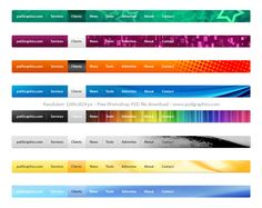 8 Creative and colorful web UI navigation menus set in psd. Menu Design, Site Design, Conference Planning, Webpage Layout, Website Menu, Modern Website, Free Photoshop, Interface Design, Ui Elements