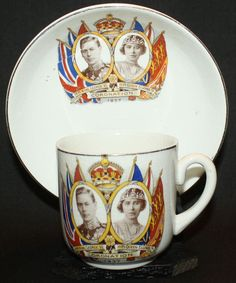 Coronation Cup Saucer Plate King George VI and Queen Elizabeth May 12, 1937