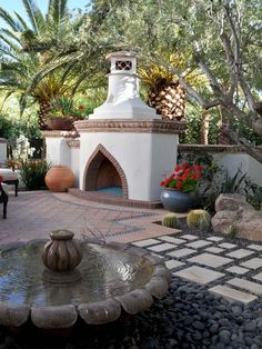 Patio Spanish Design - Courtyards and patios. The mild climate of the Mediterranean encouraged outdoor living, so the Spanish created lots of spaces to enjoy outside. The patios often had fireplaces which allowed you to linger outside late into the night. Spanish Courtyard, Spanish Garden, Spanish Patio, Outdoor Rooms, Outdoor Living, Outdoor Decor, Outdoor Retreat, Backyard Retreat, Outdoor Photos