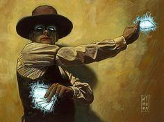 Huckster casting a spell.