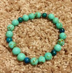 Turquoise Magnesite, Teal Australian Jasper, Silver Spacers Beaded Stretchy Bracelet by MamaPajamaJan on Etsy