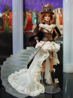 Miss North Carolina, Lace Boy Shorts, Barbie Miss, Fashion Dolls, Fashion Outfits, Steampunk Top Hat, Leather Corset, Chiffon Ruffle, Vintage Barbie Dolls