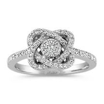 Swirling Knot Round Diamond Cluster Ring Image