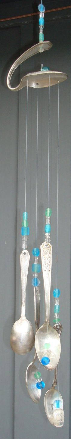 Vintage OneofaKind Silverware Wind Chime Mobile by KineticKutlery found on Etsy Dremel, Fun Crafts, Diy And Crafts, Make Wind Chimes, Silverware Jewelry, Cutlery, Spoon Art, Mobiles, Suncatchers