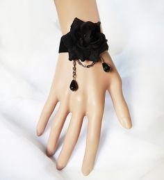 Vintage Gothic Rose Flower Bracelet BLACK