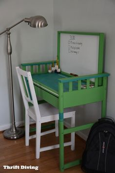 Turn a thrifted changing table into a desk! You won't believe how the whiteboard was made. Color: Annie Sloan Antibes Green.