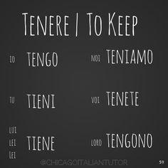 Italian Verb & Keep& Italian Verbs, Italian Grammar, Italian Vocabulary, Italian Phrases, Vocabulary Words, Italian Quotes, Learn To Speak Italian, Learn French, Learning Italian