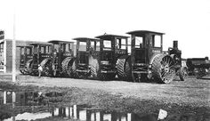 Case steam tractors in Montana.