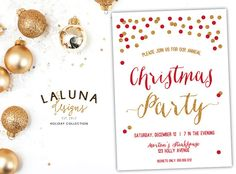 Christmas Party Invitation, Christmas Party Invite, Holiday Party Invitation, Christmas Party Printable, Gold Glitter, DIY Printable