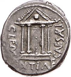 Denario - argento - Roma repubblicana (44 a.C.) - CLEMENTIAE CAESARIS fronte di tempio con 4 colonne e porta chiusa, sul timpano un globo -  Münzkabinett Berlin