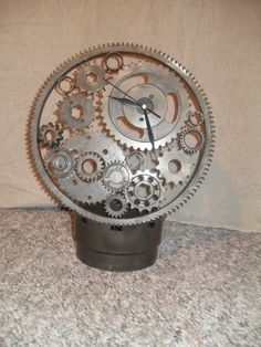 desk clock gears gearhead executive automotive industrial retro art