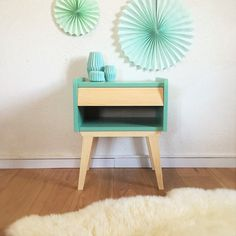 Mid century Bedside table, nightstand, Scandinavian and vintage, pedestal table, mid century modern, wood, green color, model Basile