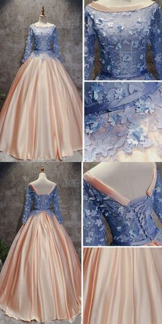 CHIC A-LINE BALL GOWNS PINK BLUE SATIN APPLIQUE LONG SLEEVE PROM DRESS EVENING GOWNS #CharmingPromDress #LongPromDresses #PromDresses #EveningDress #PromGowns  #FormalWomenDress #PromDress #PartyDress #Prettylady #CHICALINE #ballgown  #quinceaneradresses #highquality  #longsleevespromdress