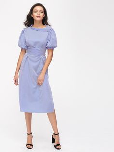 Shop Bishop Sleeve Asymmetric Foldover Neck Pinstripe Belt Dress online. SheIn offers Bishop Sleeve Asymmetric Foldover Neck Pinstripe Belt Dress & more to fit your fashionable needs.