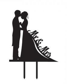 Unik Occasions Mr & Mrs Bride and Groom Silhouette Wedding Cake Topper Pick