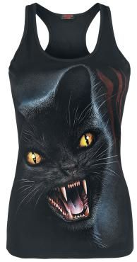- boat neck - printed - racerback  Attention - this kitty bites! The little cat on the Feline Fury top by Spiral is definitely not purring with delight... It's furious, baring pointy teeth and staring at you. This top will keep away those who'd normally get too close - maybe you can lay off some karate moves for a while!