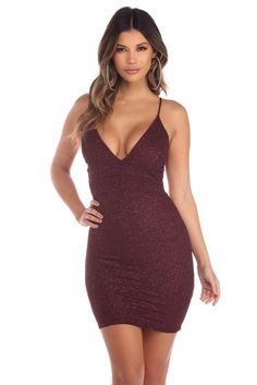 All you need is a little pixie dust, but this burgundy glitter dress will do! Dresses Short, Hoco Dresses, Party Dresses For Women, Tight Dresses, Sexy Dresses, Cute Dresses, Bodycon Homecoming Dresses, Girls Party, Mini Dress Clubwear