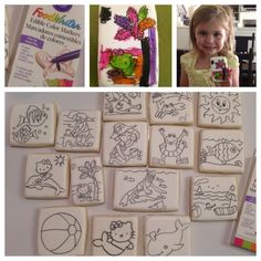Beach, Coloring Book Cookies, Edible Markers, DIY Decorated Cookies, Kids Project, Fun for Kids, Paint a Cookie - Decorated Sugar Cookies by I Am The Cookie Lady