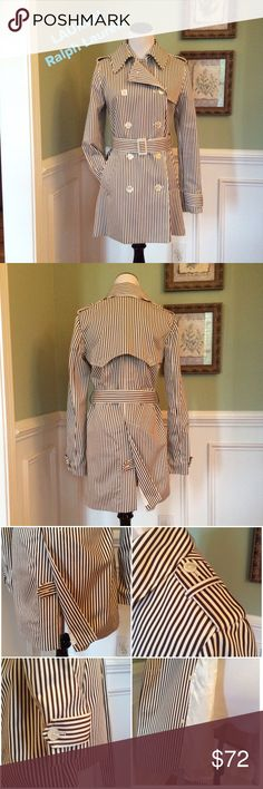 """💕NWOT💕  LAUREN by Ralph Lauren Trench Style Coat This Medium weight coat is super chic!!!  Colors of Cream and a Mocha Brown. So much detail has been added (see pics). Double breasted, adjustable belt, 14"""" vent in back with optional button closure. Measures 31"""" from shoulder to hem. Fully lined. Side pockets. Lauren Ralph Lauren Jackets & Coats Trench Coats"""