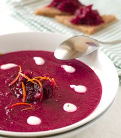 Vegan Polish Borscht Soup Recipe. Ingredients: 2 leeks | 2 carrots | 2 stalks of celery |2 cloves garlic | 1 tbls olive oil 4 medium beets | 4 cups of water | 1 bay leaf | 1 tsp honey | After soup is cooked and blended add: 1 tbls dill | 1 tbl lemon juice | 1/2 – 1 teaspoon horseradish | 1/2 cup yoghurt or kefir (optional).. Method: Sauté vegetables in olive oil with the garlic until fragrant... Read more: http://www.hungryforchange.tv/article/cant-beet-a-borscht-soup-to-keep-healthy-warm