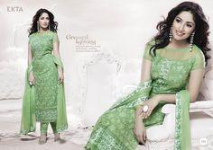 #YamiGautam style green embroidered #churidar #salwarsuit  shop online at #craftshopsindia