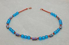 aqua blue and chestnut brown necklace by bijoubeadslondon Blue Necklace, Short Necklace, Beaded Necklace, Necklaces, Blue Beads, Antique Copper, Aqua Blue, Seed Beads, Boho