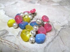 Vintage Earrings Lucite Cha Cha Costume Jewelry by STLvintage