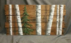 Reclaimed pallet art, Distressed, Evergreen tree, Hand painted White Birch, upcycled rustic & shabby chic  Original Acrylic painting on reclaimed, rustic, characteristic pallet wood.  **This is the original pictured. Your Purchased picture would be painted 10-14 days after order. Note that wood characteristics are unique to each new piece and size can vary from 1/2 to 1.  Ready to hang. Signed by artist.  Dimensions are 40 inches wide x 20 inches high Please contact me with any questions or…