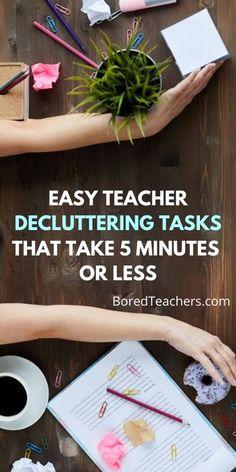 20 Easy Teacher Decluttering Tasks That Take 5 Minutes or Less Teacher Bags, Best Teacher, Detention Slips, Student Jobs, Make It Through, Decluttering, Teacher Newsletter, Enough Is Enough, How To Look Better