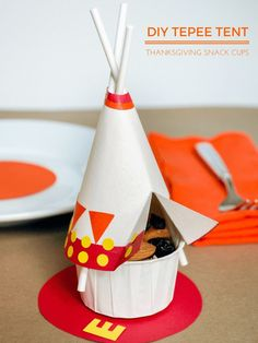 DIY Thanksgiving Tepee Snack Cups For The Kids Table