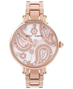 Betsey Johnson Women's Rose Gold-Tone Steel Bracelet Watch 38mm BJ00501-28