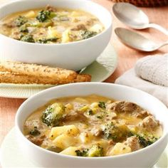 """Cheeseburger Broccoli Chowder Recipe -I invented this soup accidentally! Actually, it came about when I was new to cooking, and didn't know that """"chowder"""" was a kind of soup—so I made mashed potatoes to go with the dish I was making. We ended up dunking our mashed potatoes into the soup as """"gravy""""—and it was delicious!—Karen Davies, Wanipigow, Manitoba"""