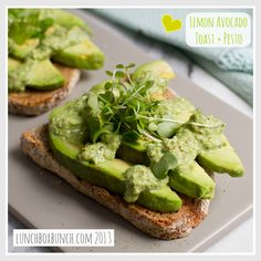 Lemon Avocado Toast + Basil Pesto // 15 Minutes // Ingredients: Raw nuts (walnut, almond, pine nuts), Lemon, Cayenne, Basil leaves, Bread, Avocado, Micro greens, Black pepper, Olive oil
